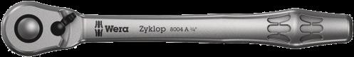 """8004 A Cliquet Zyklop Metal avec levier d'inversion, emmanchement 1/4""""  - 05004004001 - Wera Tools"""
