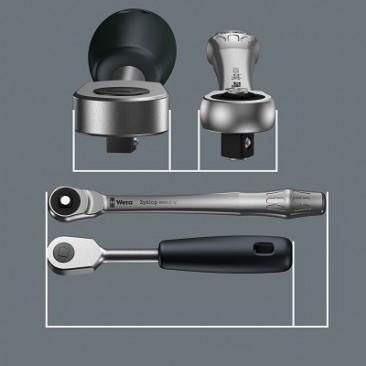 """8100 SA 7 Jeu cliquet Zyklop Metal avec carré mâle traversant, à emmanchement 1/4"""", métrique  - 05004017001 - Wera Tools"""