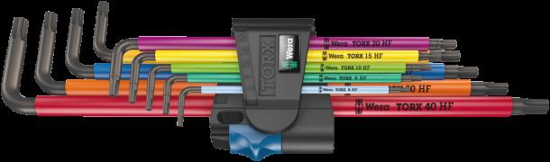 967/9 TX XL Multicolour HF 1 Jeu de clés mâles coudées TORX® HF avec fonction de retenue, version longue  - 05024470001 - Wer...